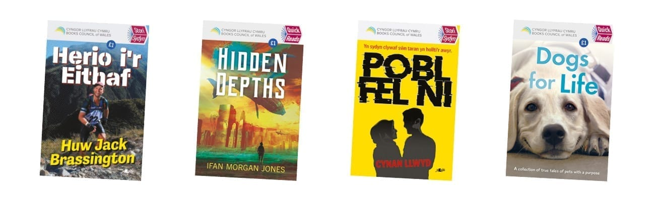 The covers of the four books published in the 2020 Quick Reads series in Wales