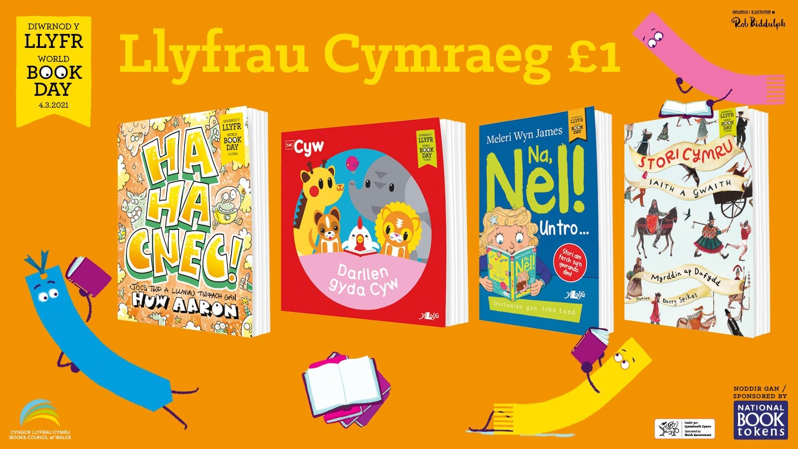 Cloriau'r pedwar llyfr £1 Cymraeg sydd ar gael ar gyfer Diwrnod y Llyfr 2021